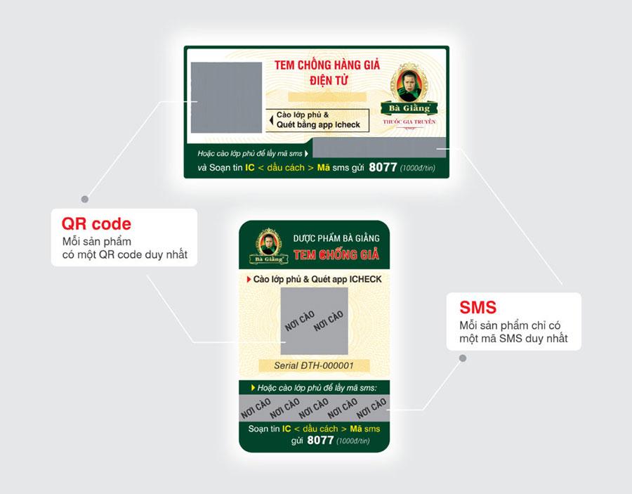 Hai mẫu tem chống giả điện tử của Đại tràng hoàn Bà Giằng