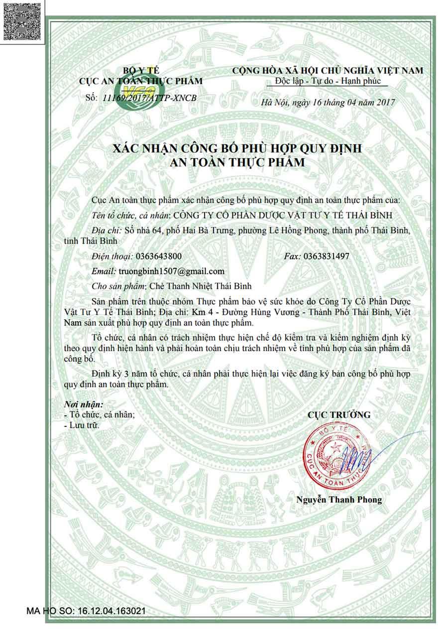 Giấy xác nhận công bố sản phẩm thực phẩm bảo vệ sức khỏe Chè Thanh Nhiệt Thái Bình