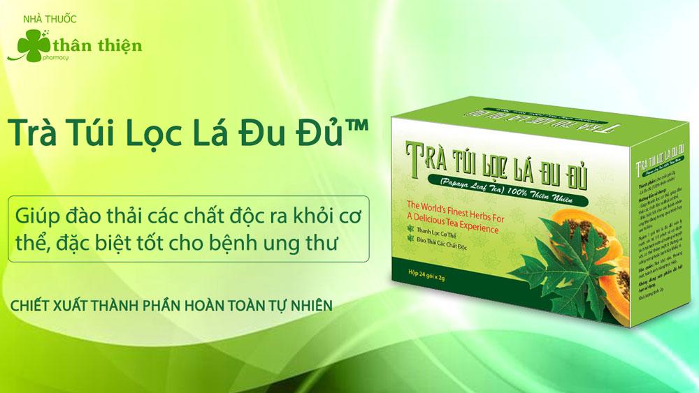 Hình ảnh: Sản phẩm trà túi lọc lá Đu đủ đang có bán trên thị trường