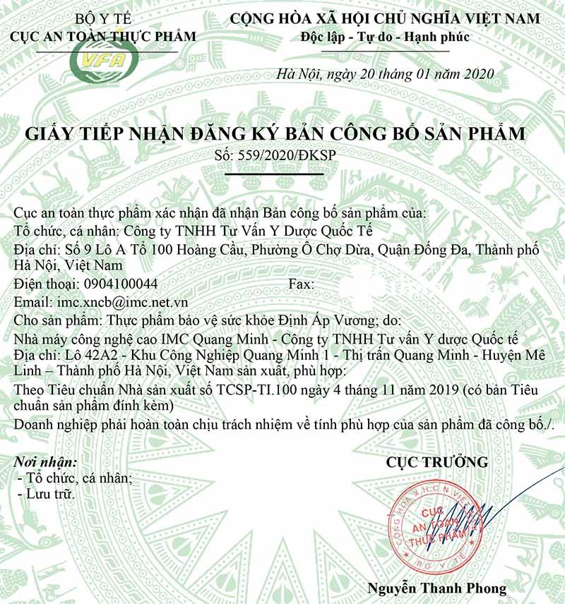 Giấy tiếp nhận đăng ký công bố của Định Áp Vương