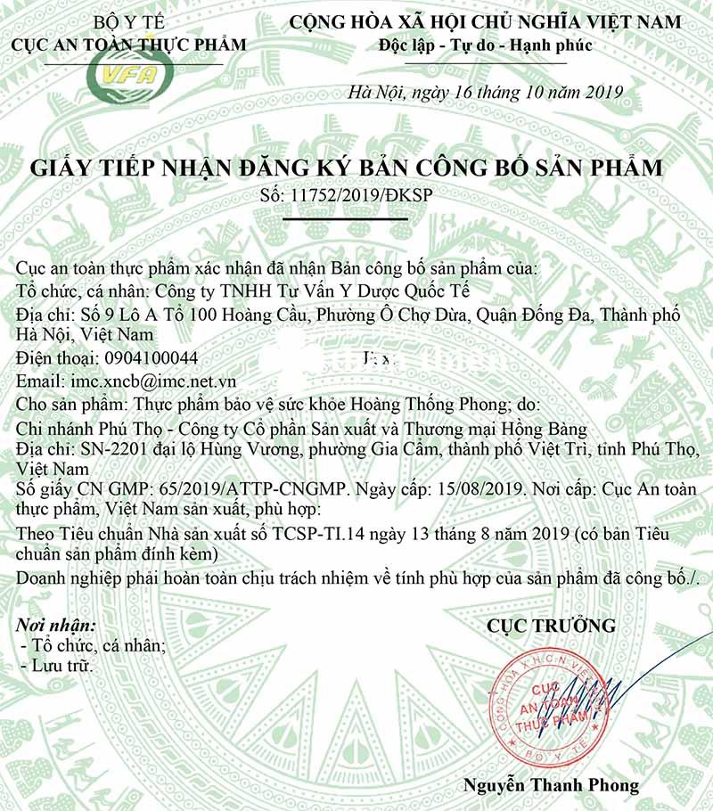 Giấy tiếp nhận công bố của sản phẩm Hoàng Thống Phong