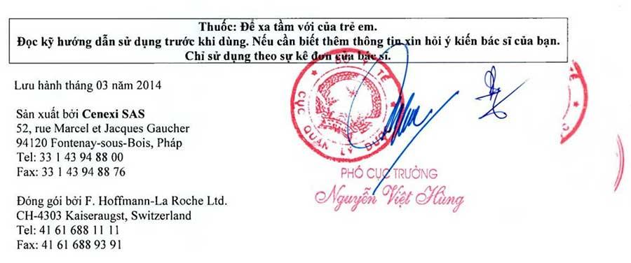 Dấu đóng xác nhận công bố cấp phép sản phẩm