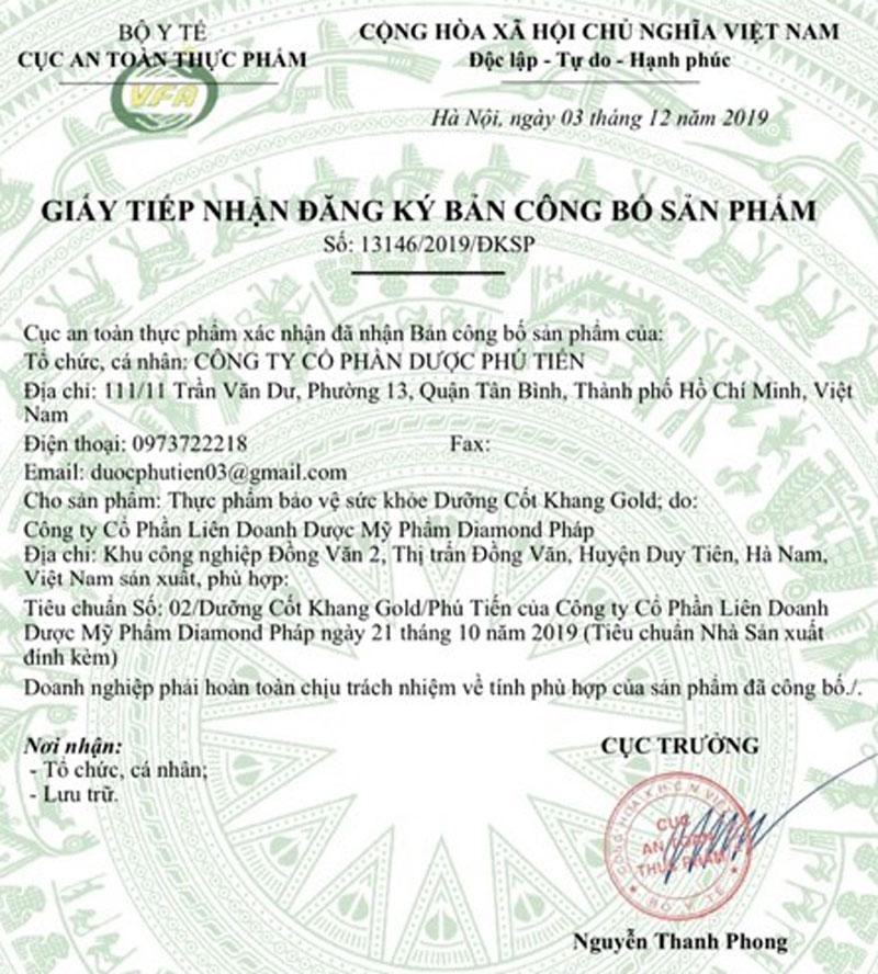 Giấy xác nhận công bố Dưỡng Cốt Khang Gold do Cục ATTP - Bộ Y tế cấp