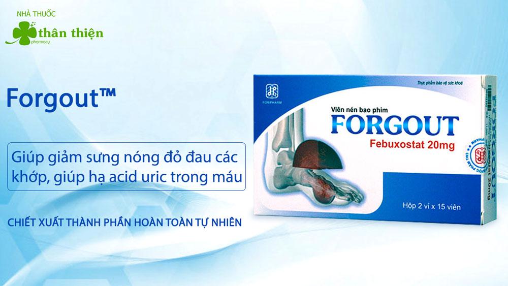 Viên nén bao phim Forgout có bán tại hầu hết các nhà thuốc trên toàn quốc