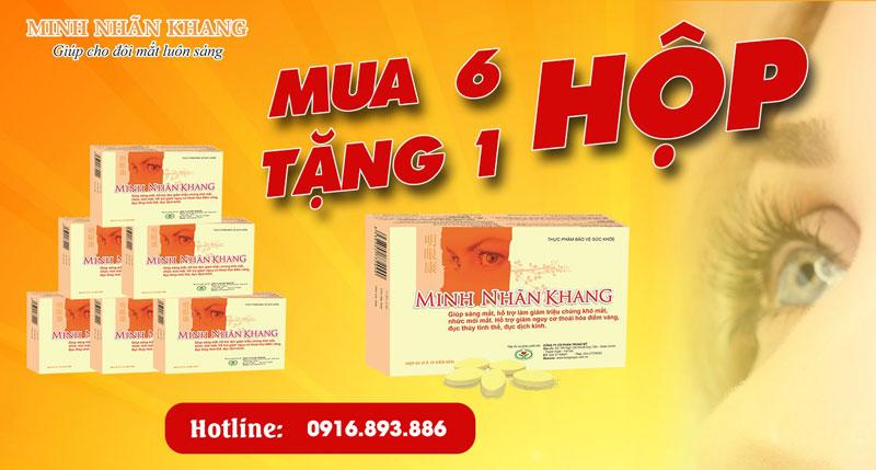 Minh Nhãn Khang hiện đang có chương trình mua 06 hộp tặng 01 hộp, liên hệ dược sĩ để biết thêm chi tiết