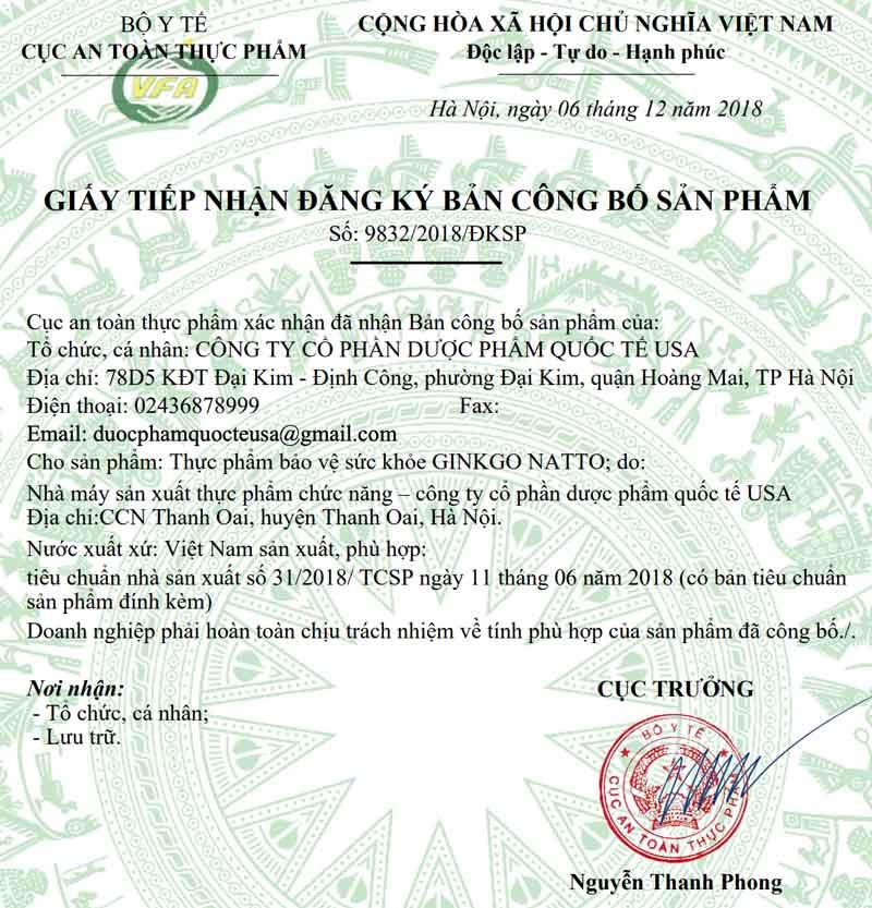 Giấy xác nhận công bố Ginkgo Natto do Cục ATTP - Bộ Y tế cấp