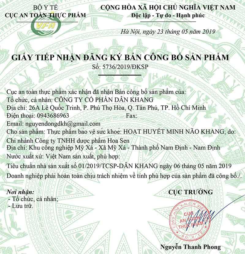 Giấy xác nhận công bố của Hoạt Huyết Minh Não Khang