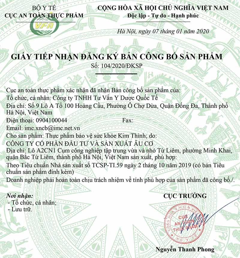 Giấy xác nhận công bố của Kim Thính