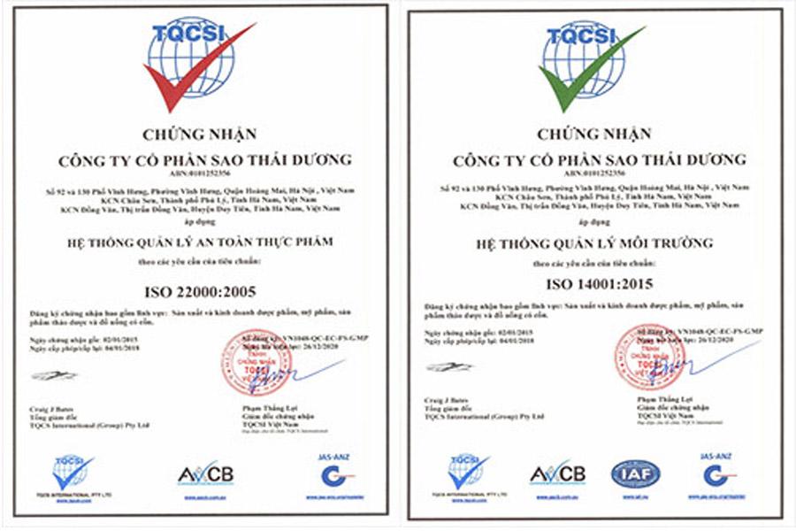 Chứng nhận ISO 14001:2015, ISO 22000:2005 của sản phẩm Rocket