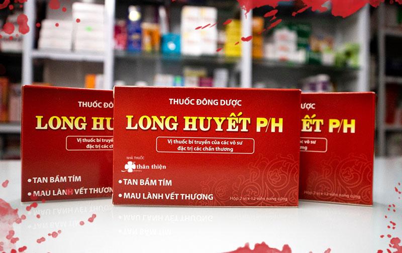 Long Huyết P/H, giúp làm tan bầm tím, giảm đau, mau lành vết thương, tiêu sưng, giảm phù nề