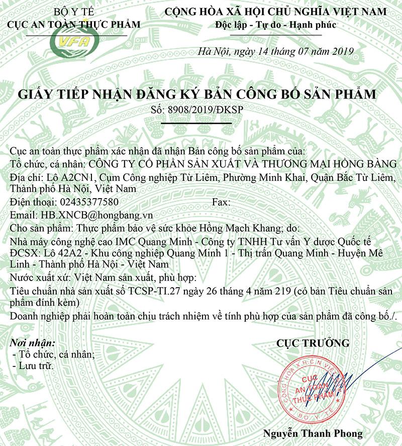 Giấy xác nhận công bố của Hồng Mạch Khang