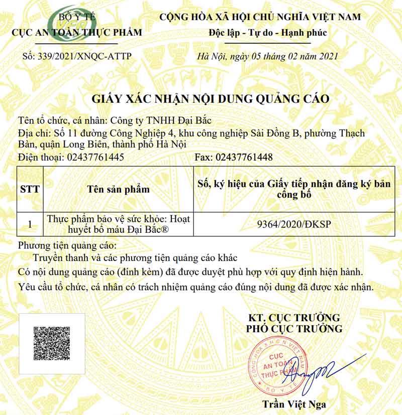 Giấy xác nhận quảng cáo Hoạt Huyết Bổ Máu Đại Bắc do Cục ATTP - Bộ Y tế cấp