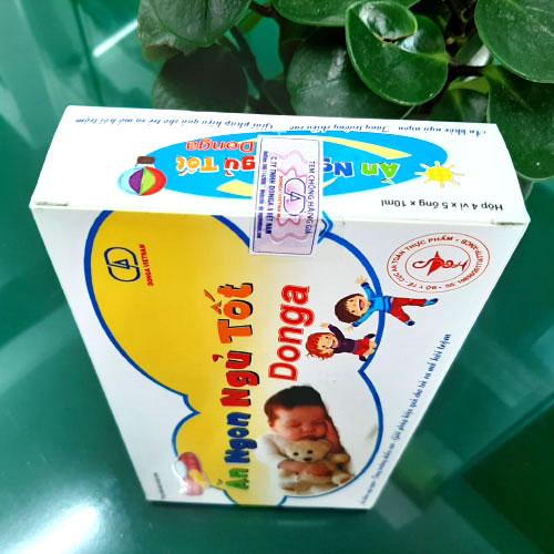 Mặt trước hộp Ăn Ngon Ngủ Tốt DongA, giúp bổ sung các vitamin và lysin