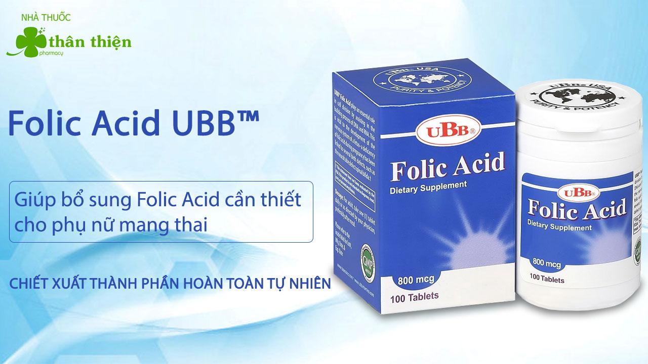Folic Acid+ UBB chính hãng đang bán tại hầu hết cá nhà thuốc trên toàn quốc