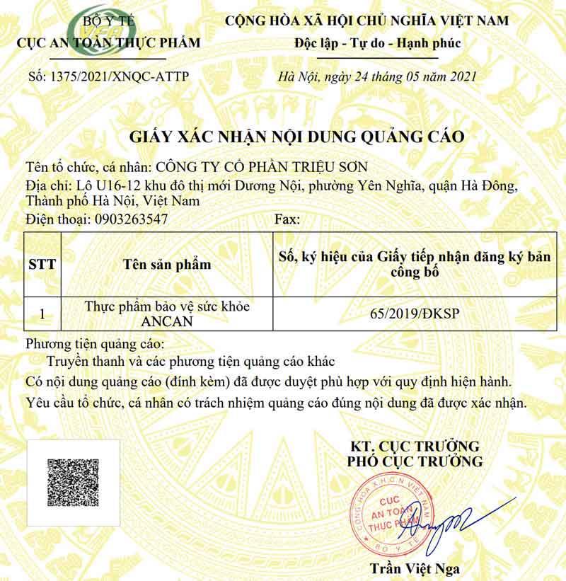 Giấy xác nhận quảng cáo sản phẩm Ancan do Cục ATTP - Bộ Y tế cấp