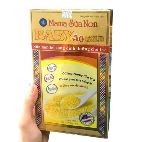 Trên tay hộp Mama Sữa Non Baby A0 Gold