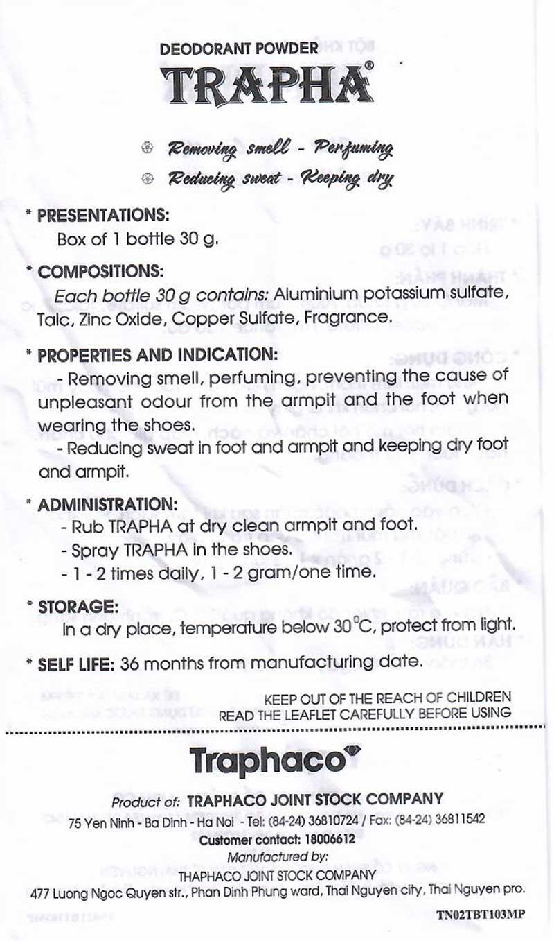 Tờ hướng dẫn sử dụng Bột khử mùi Trapha