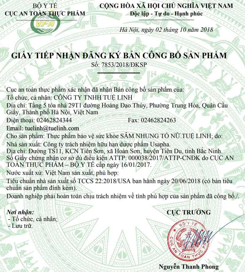 Giấy xác nhận công bố sản phẩm Sâm Nhung Tố Nữ Tuệ Linh do Cục ATTP - Bộ Y tế cấp