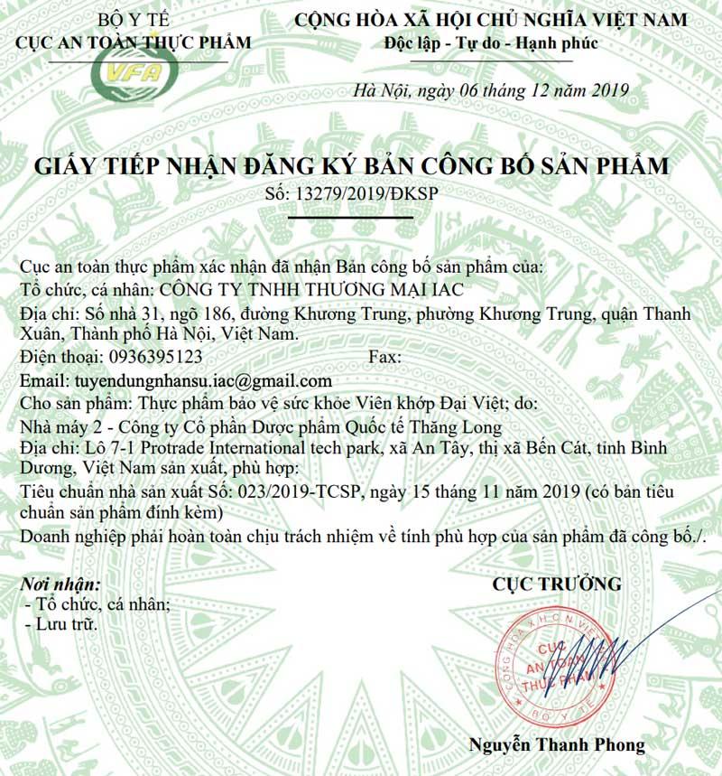 Giấy xác nhận công bố Viên khớp Đại Việt
