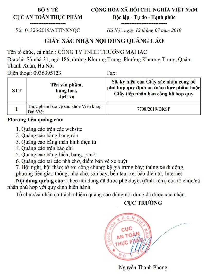 Giấy xác nhận quảng cáo Viên khớp Đại Việt