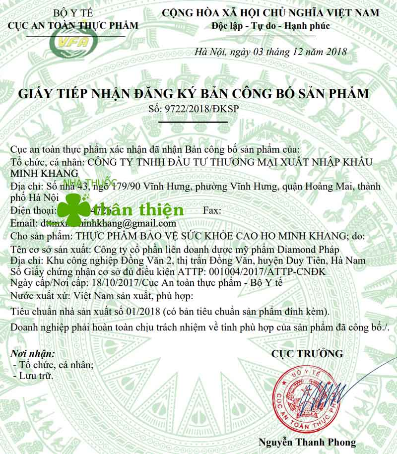 Giấy xác nhận công bố sản phẩm Cao Ho Minh Khang do Cục ATTP - Bộ Y tế cấp
