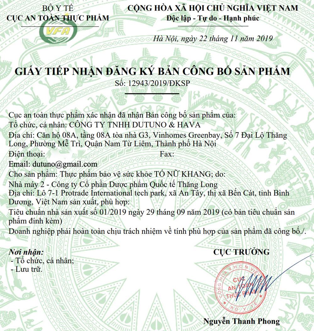 Giấy xác nhận công bố Tố Nữ Khang Số: 12943/2019/ĐKSP do Bộ Y Tế cấp