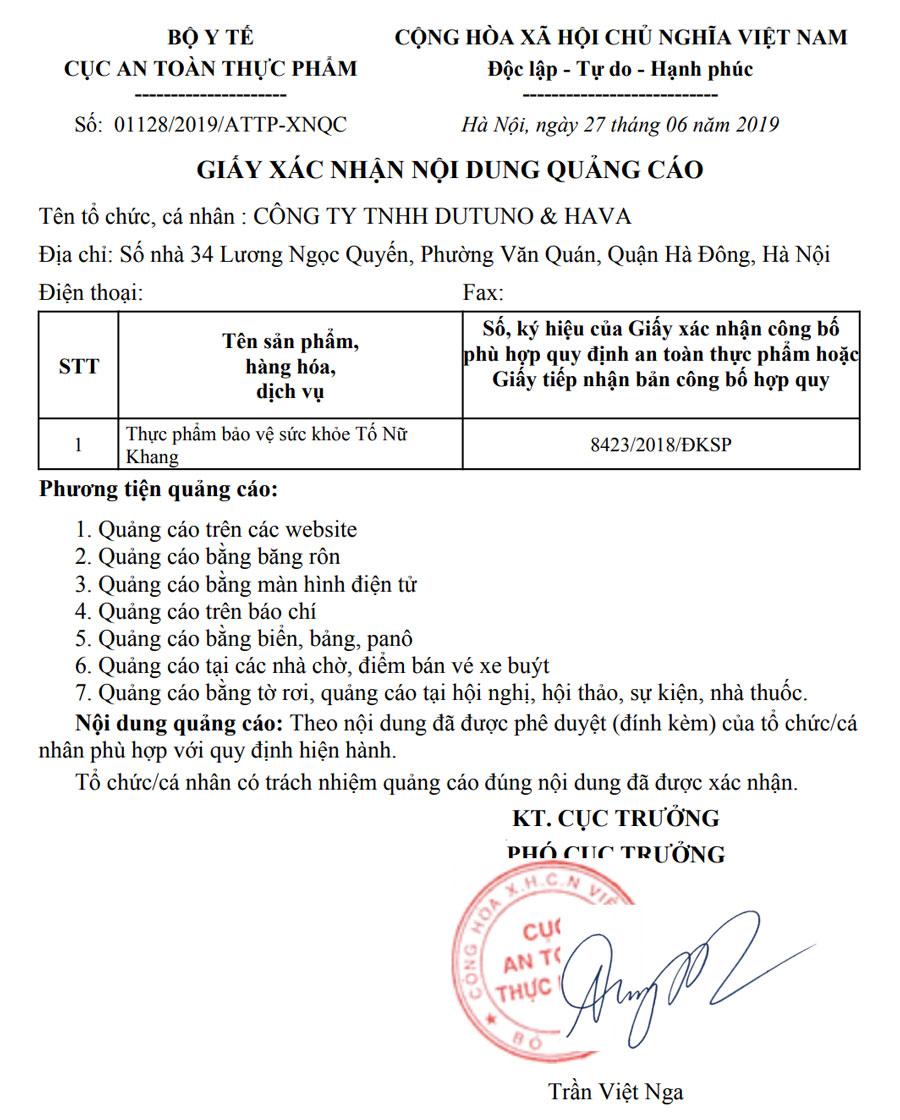 Hình chụp xác nhận quảng cáo Số: 01128/2019/ATTP-XNQC do Cục ATTP Bộ Y Tế cấp cho Tố Nữ Khang