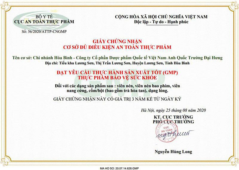 Giấy chứng nhận GMP của Công Ty Cổ Phần Thương Mại Quốc Tế Việt Nam Anh Quốc Trường Đại Hưng do Bộ Y tế cấp