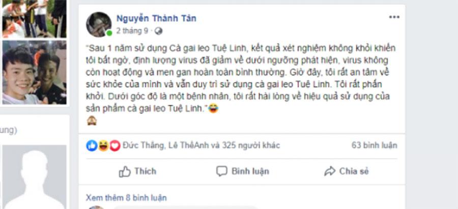 Khách hàng sử dụng Cà gai leo Tuệ Linh review sản phẩm!