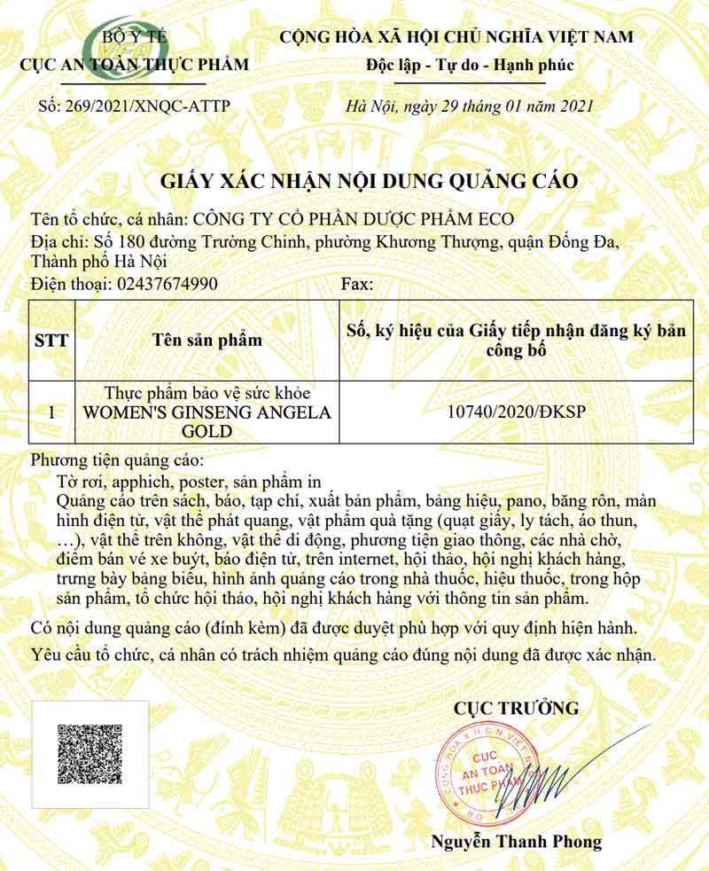Giấy xác nhận quảng cáo Sâm Angela Gold do Cục ATTP - Bộ Y tế cấp
