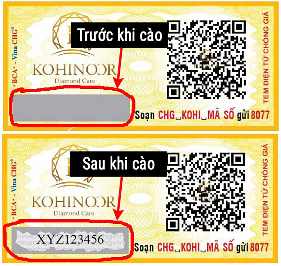 Tem chống hàng giả của công ty Kohinoor Star