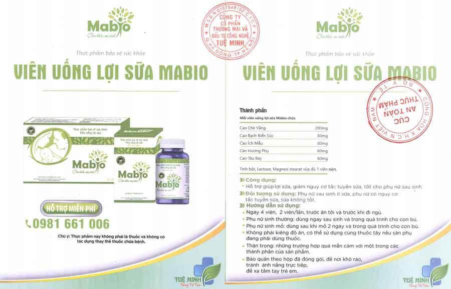 Tờ xác nhận quảng cáo Viên uống lợi sữa Mabio theo xác nhận của cục ATTP - Bộ Y tế