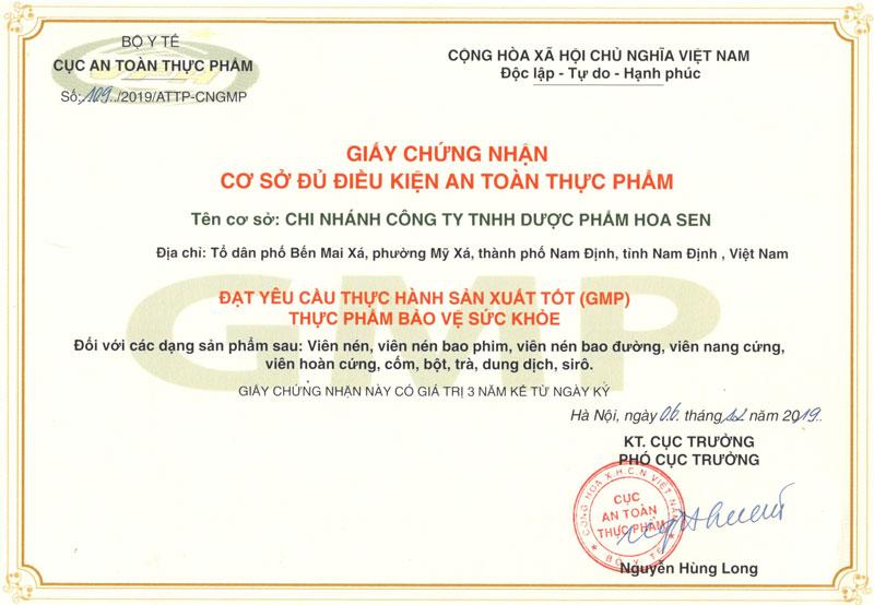 Giấy chứng nhận GMP Công Ty TNHH Dược Phẩm Hoa Sen do Cục ATTP - Bộ Y tế cấp