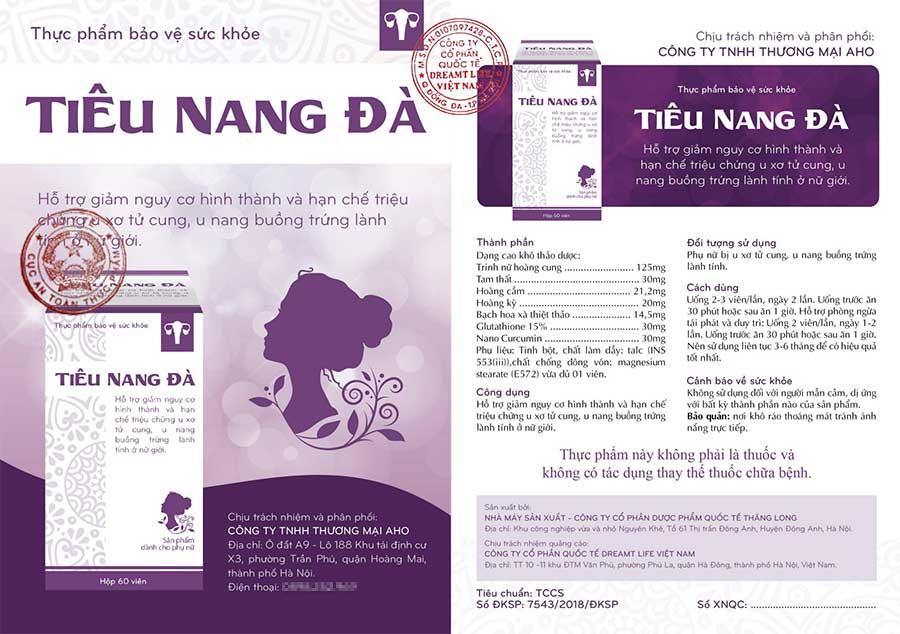 Giây xác nhận quảng cáo Tiêu Nang Đà do Bộ Y Tế cấp phép