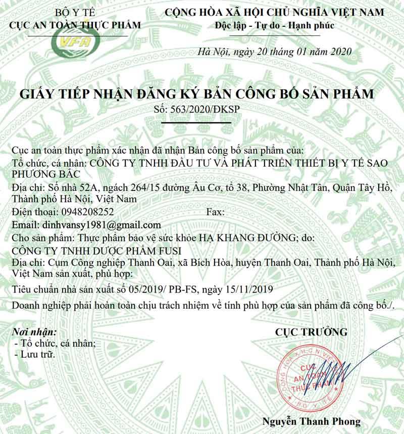 Giấy xác nhận công bố Hạ Khang Đường do Cục ATTP - Bộ Y tế cấp