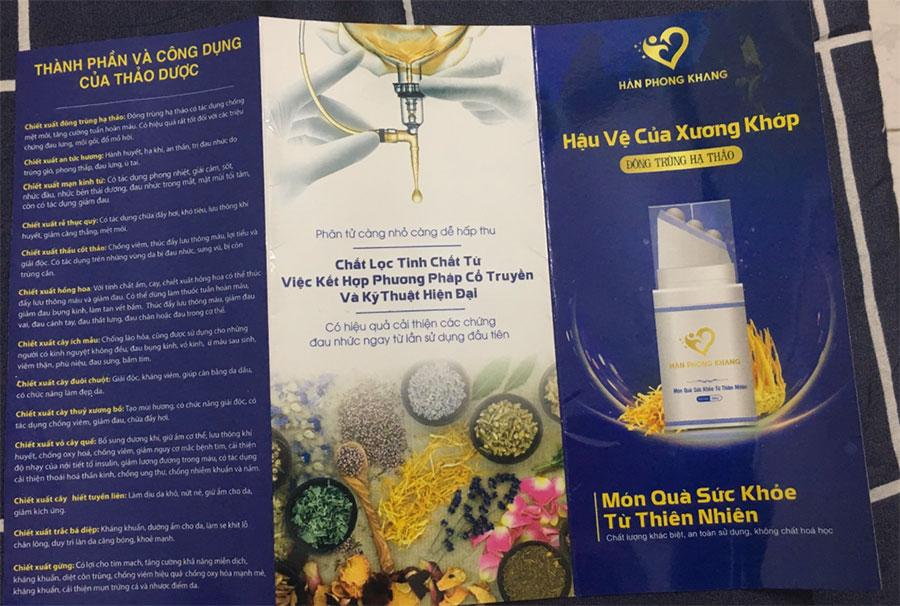 Tờ hướng dẫn sử dụng Hàn Phong Khang