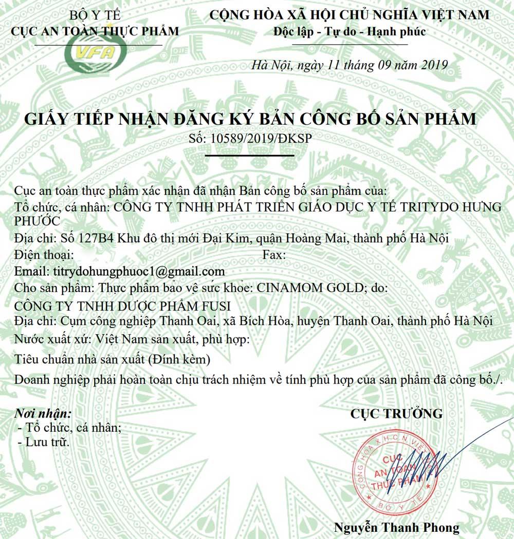 Giấy xác nhận công bố sản phẩm Cinamom Gold do Cục ATTP - Bộ Y Tế cấp