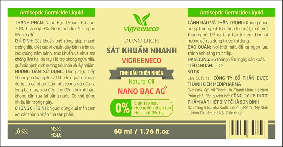 Tờ hướng dẫn sử dụng Dung dịch sát khuẩn nhanh Vigreeneco Nano Bạc AG+