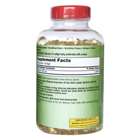 Thành phần Kirkland Signature Vitamin E 180mg