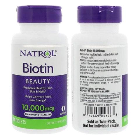 Hướng dẫn sử dụng Natrol Biotin Beauty 10,000mcg
