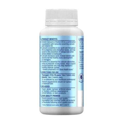 Ostelin Kids Calcium & Vitamin D3 mặt sau