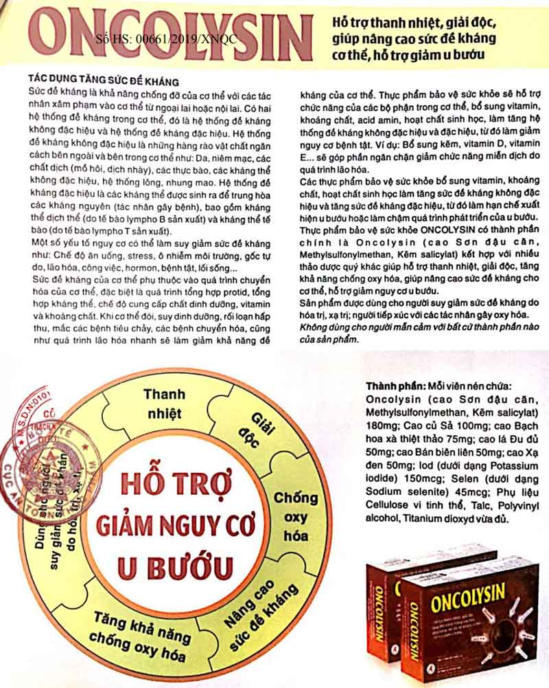 Nội dung trong giấy quảng cáo Oncolysin do Cục ATTP - Bộ Y tế xác nhận