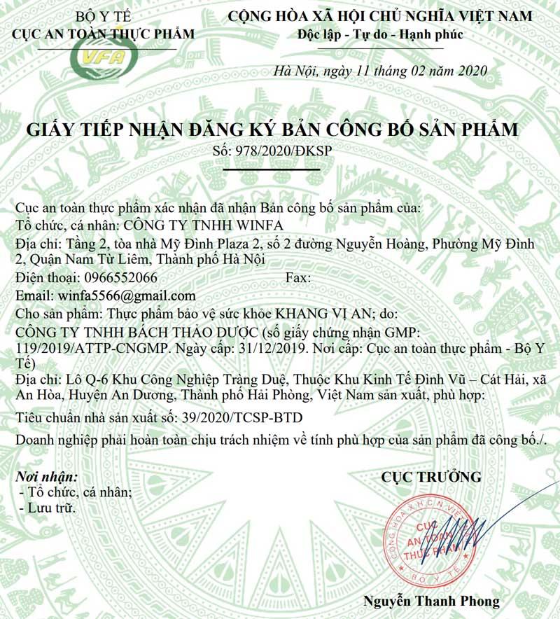 Giấy xác nhận công bố sản phẩm Khang Vị An do Cục ATTP - Bộ Y tế cấp phép