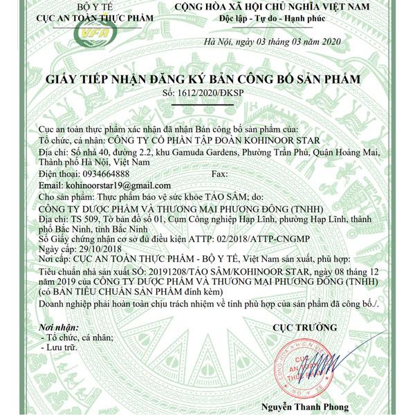 Giấy xác nhận công bố Viên uống Tảo Sâm Kohinoor