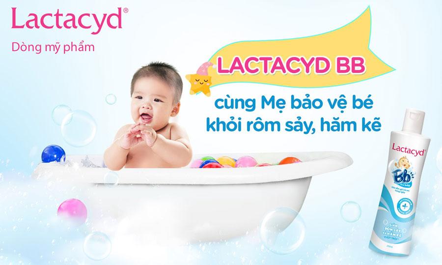 Lactacyd BB, giúp phòng ngừa và hỗ trợ điều trị rôm sảy, hăm kẽ