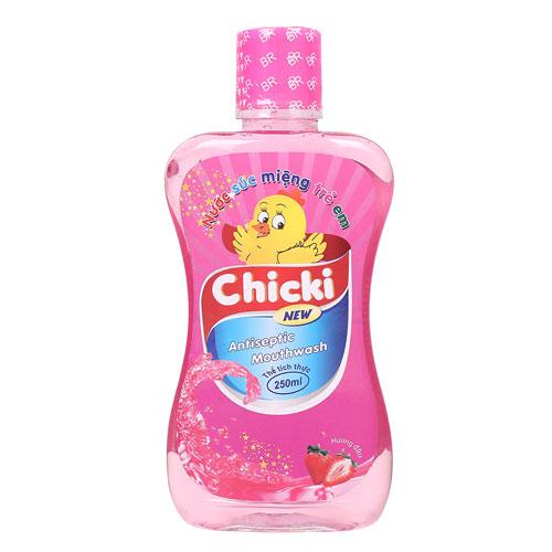 Nước súc miệng trẻ em Chicki vị Dâu, 250ml