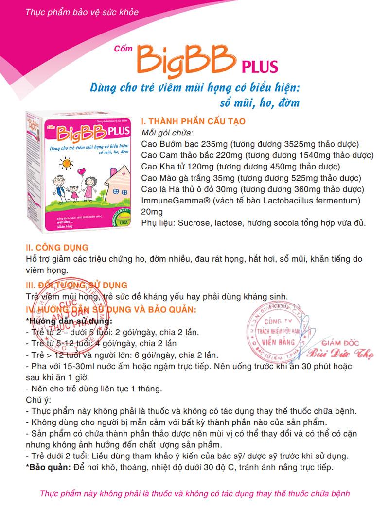Giấy xác nhận quảng cáo sản phẩm Cốm BigBB Plus