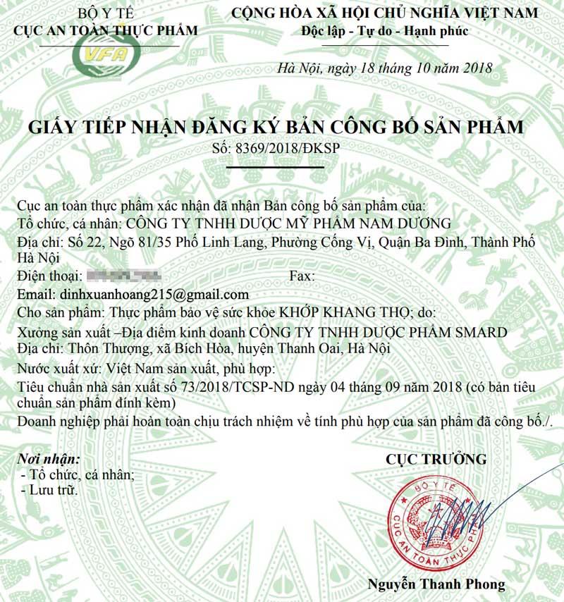 Giấy xác nhận công bố sản phẩm Khớp Khang Thọ