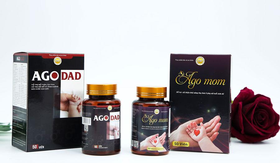 Hình chụp sản phẩm Ago Dad và Ago Mom đang bán trên thị trường