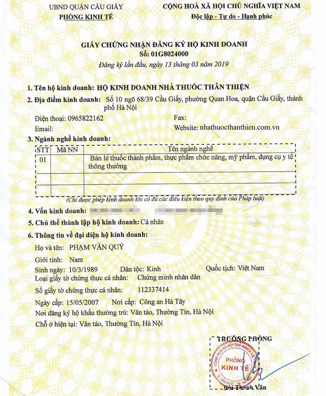 Giấy chứng nhận đăng ký kinh doanh